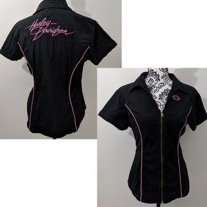 Harley-Davidson Women/'s Fashion Appliqué Black Lacey Shirt 96071-16VW NEW